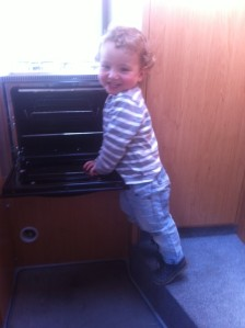 Leo in the camper